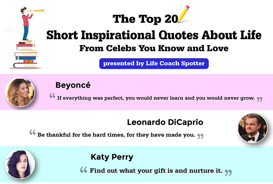 short inspirational quotes about life infographic self